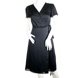 Banana Republic Black Satin Wrap Dress XS